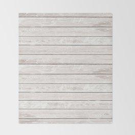 Rustic ivory white vintage wood Throw Blanket