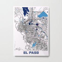 EL Paso - United States MilkTea City Map Metal Print
