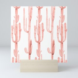 Pretty Coral Pink Cactus Pattern Mini Art Print