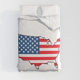 United States Map with American Flag Comforters