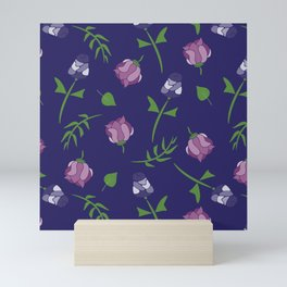 Whimsical Floral Pattern In Blue, Pink and Purple Mini Art Print