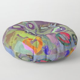 Living In A Purple Dream - Abstract, eclectic, random, purple. lilac, pastel artwork Floor Pillow