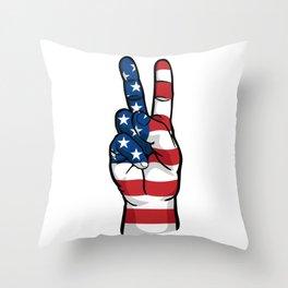 USA Peace Sign Throw Pillow