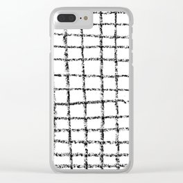 Black and white grid abstract minimal gridded pattern gifts basic nursery home decor Clear iPhone Case