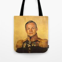 neil gaiman Tote Bags featuring Neil Armstrong - replaceface by replaceface