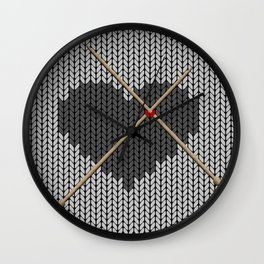 Original Knitted Heart Design Wall Clock