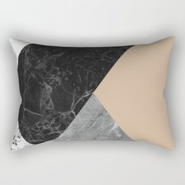 Black and white marbles and pantone hazelnut color Rectangular Pillow