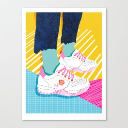 Butter - throwback 80s style vibes shoes fashion sneakers 1980's trend memphis art Canvas Print