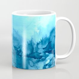 INTO ETERNITY, TURQUOISE Colorful Aqua Blue Watercolor Painting Abstract Art Floral Landscape Nature Coffee Mug