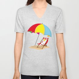Space Odyssey | Astronaut Lounging at the Beach | Sea Side | Space | Umbrella | pulps of wood Unisex V-Neck