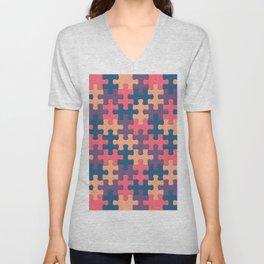 Jigsaw Puzzle Pieces Vintage Sexy Pattern Unisex V-Neck
