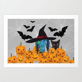 Witch bats pumpkin Halloween Art Print