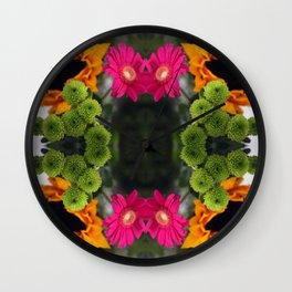 sunflower, zinnia, & something green Wall Clock