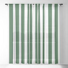 Large Forest Green and White Rustic Vertical Beach Stripes Sheer Curtain