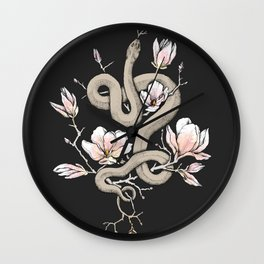 Magnolia and Serpent Wall Clock
