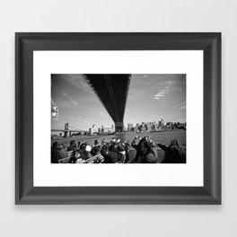 Tourists Under the Manhattan Bridge Framed Art Print
