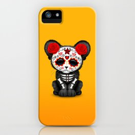 Red and Yellow Day of the Dead Sugar Skull Panther Cub iPhone Case