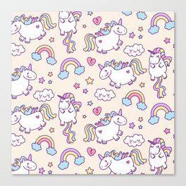 Cute unicorn pattern with heart and rainbow. Magic and fairy tale collection. Canvas Print
