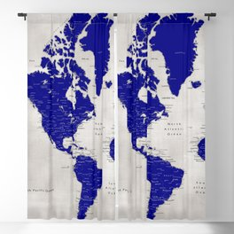 "Navy blue and grey detailed world map, ""Delaney"" Blackout Curtain"
