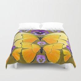 SPRING PURPLE PANSY FLOWERS & YELLOW BUTTERFLIES GARDEN Duvet Cover