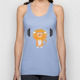 Weight lifting lion T-Shirt for all Ages Dke9a Unisex Tank Top