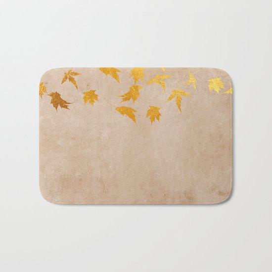 Gold leaves on grunge background - Autumn Sparkle Glitter design #Society6 Bath Mat