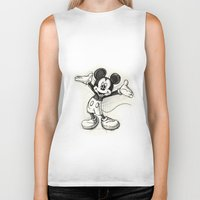mickey Biker Tanks featuring Mickey Mouse by Herself