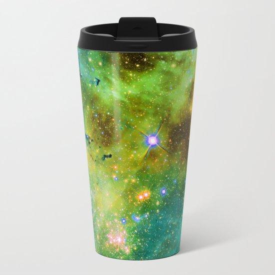 blue green space nebula Metal Travel Mug