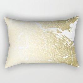 Amsterdam Gold on White Street Map Rectangular Pillow