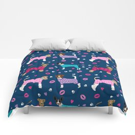 Terriers fox terrier jack russell terrier dog breed art pattern pajamas for dogs Comforters