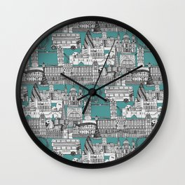 London toile blue Wall Clock