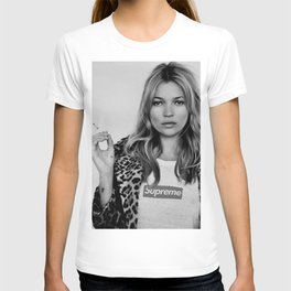 Kate Moss old digitally manipulated black an white photo T-shirt