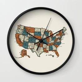 USA Vintage Map Wall Clock