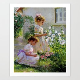 Beautiful Painting Of Two Girls Picking Flowers Art Print