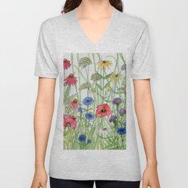 Watercolor of Garden Flower Medley Unisex V-Neck