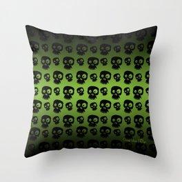 Skulls - green/black Throw Pillow