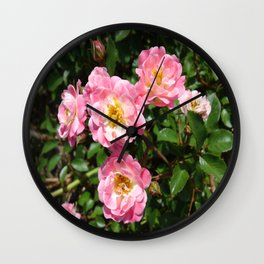 White and Pink Rose Wall Clock
