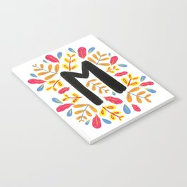 Letter 'M' Initial/Monogram With Bright Leafy Border Notebook