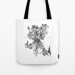 Waterlilies and goldfishes Tote Bag