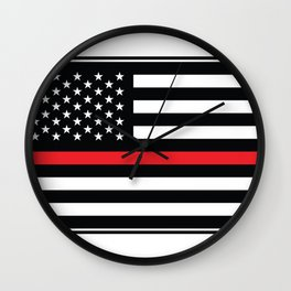 Red Thin Flag Firefighter Wall Clock