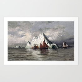 Fishing Boats and Icebergs by William Bradford - Hudson River School Vintage Painting Art Print