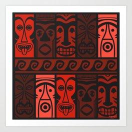 Lava Red Tikis! Art Print