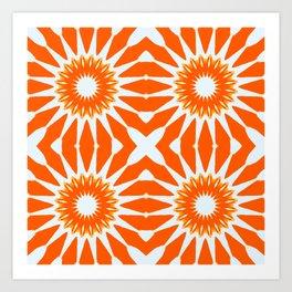 Orange Pinwheel Flowers Art Print