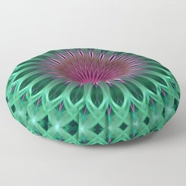 Green and red colors mandala Floor Pillow