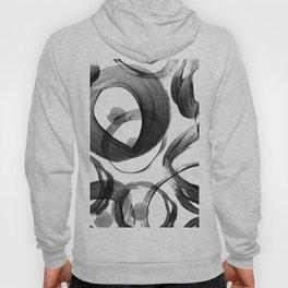 Modern abstract black white hand painted brushstrokes Hoody