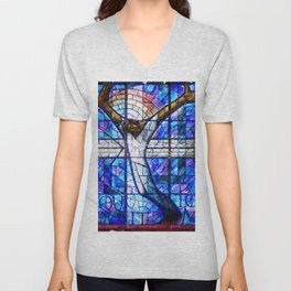 African American Portrait Painting of the Wales window at the 16th Street Baptist by Jeanpaul Ferro Unisex V-Neck