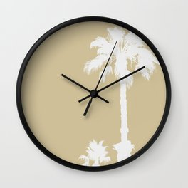 BEIGE SERIES Palm silhouettes on sand color Wall Clock