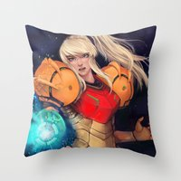 samus Throw Pillows featuring Samus  by ShinoX