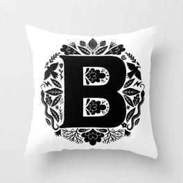 Letter B monogram wildwood Throw Pillow
