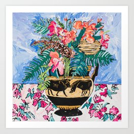 Tropical Banksia Bouquet after Matisse in Greek Boar Urn on Pale Painterly Blue Art Print